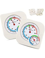 2 Pcs Mini Indoor Thermometer, Hygrometer Temperature Humidity Monitor Gauge No Battery Needed for Home Room Kitchen Patio Planting Room Reptile Terrariums Incubator