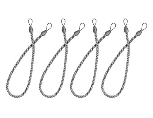 Backs Tie Cord (Home Queen Rope Tie Backs for Window Curtain with 4 Metal Screw Hooks, Hand Knitting Buckle Cord Drapery Holdbacks, Set of 4, Grey)