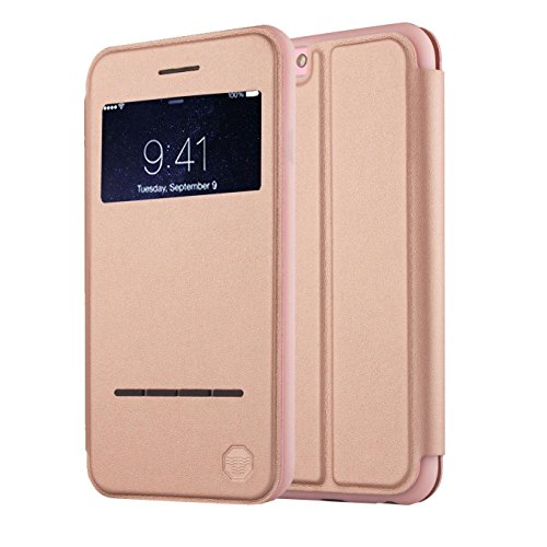 Front Cover Window (Nouske iPhone 6/6S Smart Touch Case S-View Window Flip Cover/Magnetic Closure/Stand/TPU bumper/360 protection, Rose Gold)