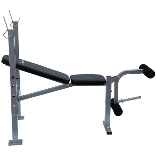 Soozier Incline Flat Exercise Free Weight Bench W Leg Extension Barbell Academy