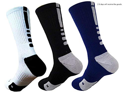 Hxst Dri-fit Cushion Basketball Crew Socks - 3 Pair Pack (3 Colors Mixed) ()