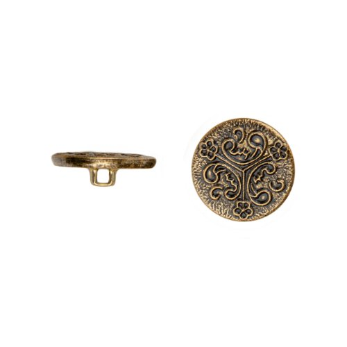 C&C Metal Products 5028 Triple Curl Metal Button, Size 24 Ligne, Antique Gold, 72-Pack by C&C Metal Products Corp