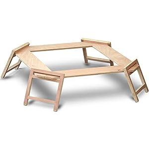 FIELDOOR パネル式 木製囲炉裏テーブル 高さ25cm 簡単組み立て 焚き火 焚き火台 キャンプ ロックベルト付