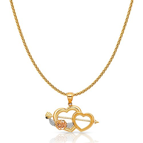 14K Two Tone Solid Gold Double Heart With Cupid Arrow Charm Pendant with 1.1mm Wheat Chain Necklace - 24