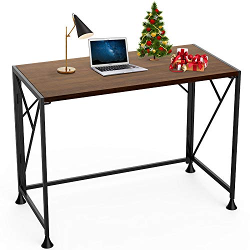 40″ Computer Desk, Folding Writing Desk with Modern Design Study Foldable Desk for Small Space, No Assembly Needed Portable Home Office Desk with Sturdy Metal Frame, Thick Wooden Table