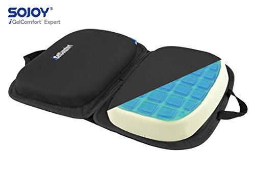 "Sojoy iGelComfort 3 in 1 Foldable Gel Seat Cushion Featured with Memory Foam (A Must-Have Travel Cushion! Smart, Easy Travel Cushion) (Size: 18.5"" x 15'' x 2'') by Sojoy (Image #1)"