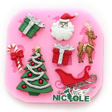 F0534 Silicone Christmas Reindeer Cake Mould Soap Chocolate Mold - Bakeware & Accessories Fondant Pastry Moulds - 1 x Cake mold -