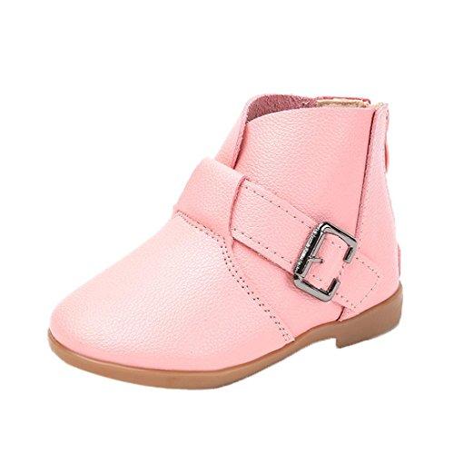 TPulling Mode Junge Und Mädchen Martin Stiefel Herbst Und Winter Schnalle Reißverschluss Schuhe Kinder Stiefel Lässige Schuhe Rosa