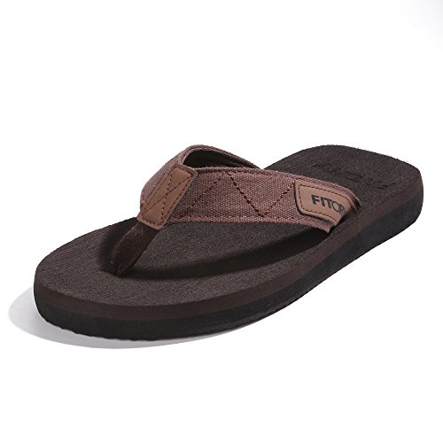 FITORY Men's Flip-Flops Arch Support Thongs Comfort Slippers for Beach Size 7-13 - Leather Rubber Sole Flip Flops