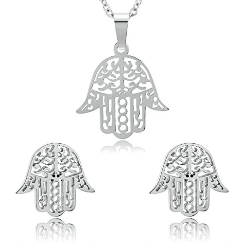 Gnzoe Women Stainless Steel Necklace Earrings Set Hollow The Hamsa Hand Silver
