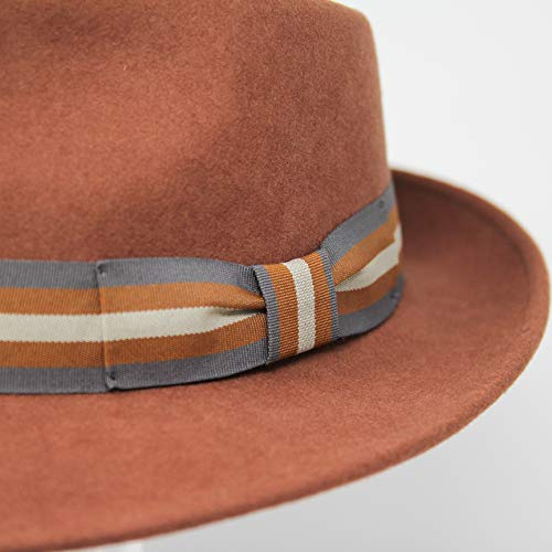 Premium Doyle - Teardrop Fedora Hat - 100% Wool Felt - Crushable for Travel - Water Resistant - Unisex