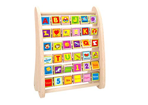 TOYSTER'S Wooden Alphabet and Number Abacus | Colorful ABC Blocks and Math Learning Activity Center for Toddlers | Educational Montessori Toy Helps with Spelling, Counting, Fine Motor Skills ()
