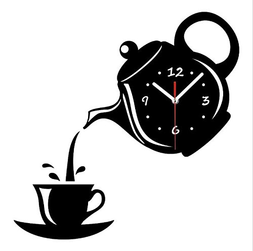 DIY 3D Wall Clock Acrylic Coffee Cup Teapot Shape Decorative Kitchen Wall Clocks Living Room Dining Room Home Decor Clock Stickers Removable ,Black
