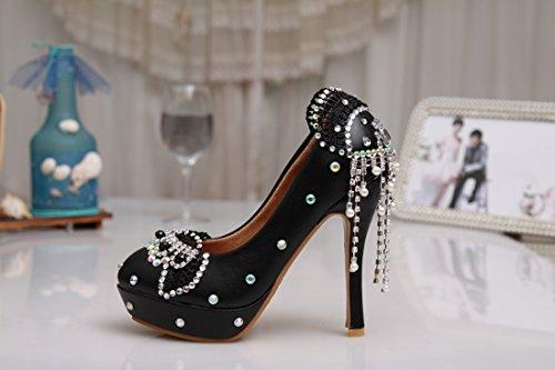 Minishion Mzll020 Vrouwen Kettingen Handgemaakte Lederen Bruiloft Feest Avond Prom Pumps Schoenen Zwart
