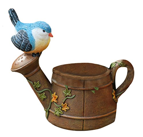 (Insun Natural Resin Mini Watering Can Landcape Succulent Flowerpot Planter Container with Blue Birds Design 5.5