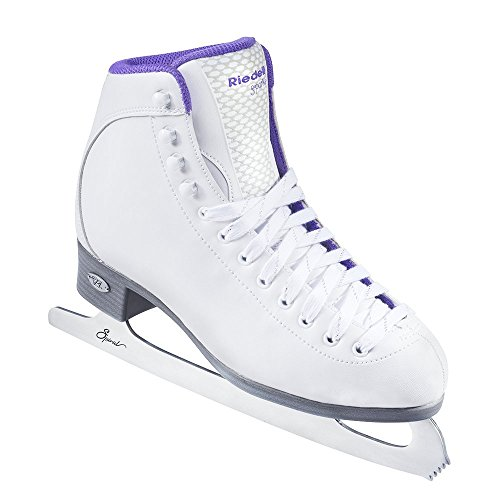Riedell Skates - 118 Sparkle - Beginner Soft Figure Ice Skates with Stainless Steel Spiral Blade | White | Size 7