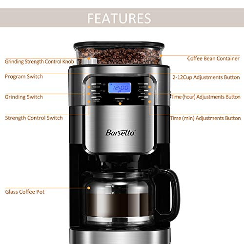 Grind & Brew Automatic Coffeemaker Barsetto Digital Programmalbe Drip Coffee Machine Brewer for Kitchen and Office by Barsetto (Image #7)