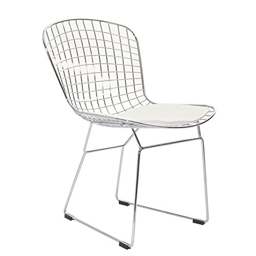 Harry Bertoia Side Chair (Modernist Dining Side Chair with White Seat)