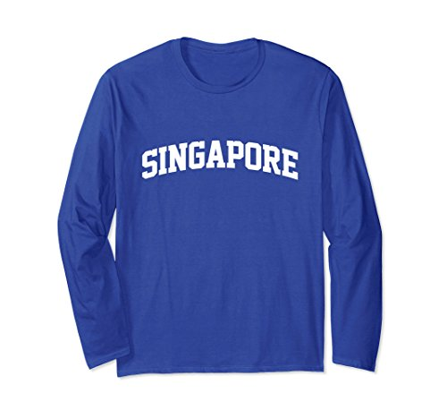 Unisex Singapore Arch Sports Team T-Shirt Long Sleeve XL: Royal - Apparel Sports Singapore