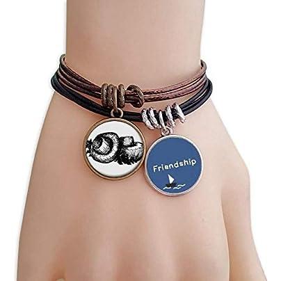 YMNW Realistic Mushroom Line Illustration Pattern Friendship Bracelet Leather Rope Wristband Couple Set Estimated Price -
