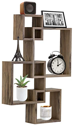 Sorbus Floating Shelf Square Interlocking Cubes with 4 Openings - Decorative Wall Shelves Hanging Display for Photo Frames, Collectibles, and Home Décor - Shelf Geometric