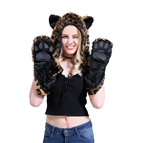 LeopardFull Animal Hood Hat Cap Scarf Gloves Mittens Faux Fur Fleece Lined Interior Anime Spirit Paws Ears Zipper Furry Hoodie ()