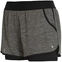 Layer 8 Ladies Quick Dry Two in One Running Yoga Work Out Short with Compression Shorts Underneath