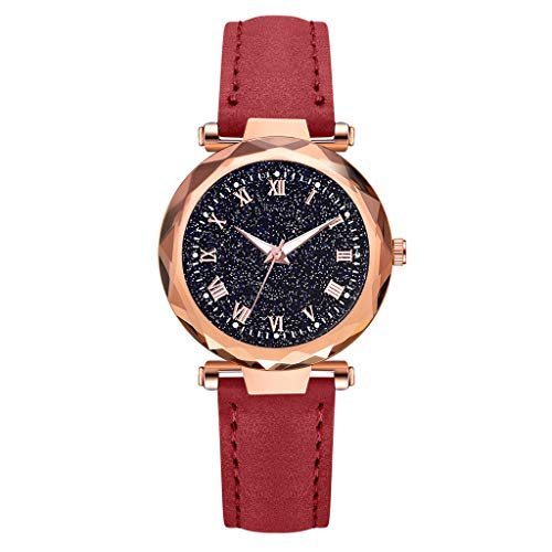 (Garish❤️❤️ Women's Lucky Luxury Watch,Quartz Leather Belt Watch,Sky Dial Watch,Arabic Numbers Watches for Women)