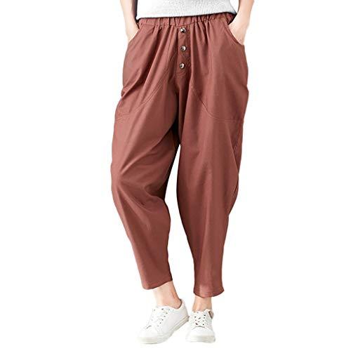 (Elastic Loose Trousers Women Fashion Warm Cotton Linen Pockets Harem Pants)