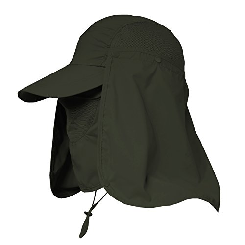 Jormatt Women & Men Outdoor Sun Hat Fishing Hiking Running Gardening Hat with Face Neck Flap Protection Cover Removable Summer UPF 50+ Folding UV Sun Cap,Army Green