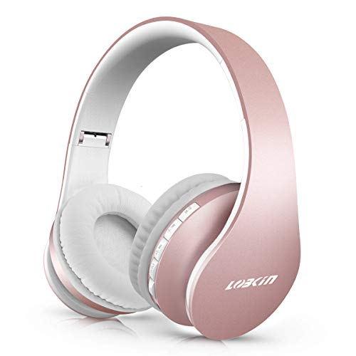 LOBKIN Bluetooth Headphones Over Ear, Stereo Wireless Headset with Microphone, Foldable Wireless and Wired Headphones with TF Card MP3 Mode and FM Radio for iPhone/Samsung/iPad/PC (Upgrade Rose Gold)