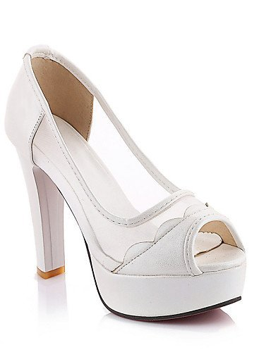 ShangYi Chaussures de mariage - Noir / Bleu / Rose / Blanc - Mariage / Habillé / Soirée & Evénement - Talons / Bout Ouvert / A Plateau - Sandales , 4in-4 3/4in-black