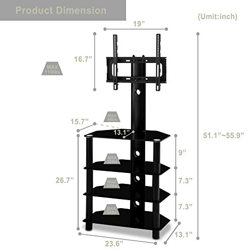 Television Accessories Electronics WEVIVU Swivel Floor TV Stand ...