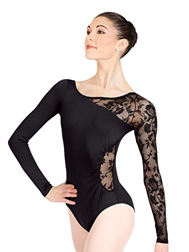 Adult Long Sleeve Leotard with Lace Sleeve and Insert N8650BLKM Black Medium