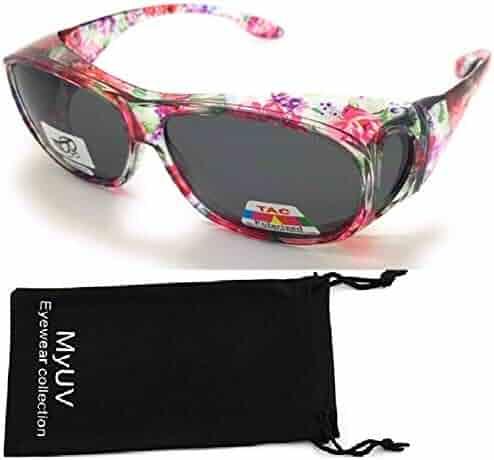 28aef8bf5015 Polarized Rhinestone Wear Over Prescription Sunglasses- Size Oversized 63MM  -Oval Rectangular Fit Over Lens