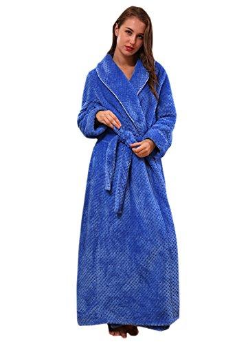 Lunga Insun Cappotto in blu Accappatoio Uomo Donna Coral Unisex pile Vestaglia Morbido ZOq1Ovwx4