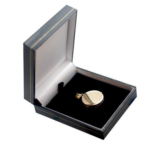 Médaillon 23mm rond et plat en or Jaune 375/1000 gravée à la main