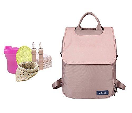 Bolso de la momia del hombro, bolso de múltiples funciones grande del bebé de la capacidad, paquete del recorrido de la mam3a de la manera, bolso del bebé de las mujeres embarazadas ( Color : Pink ) Pink