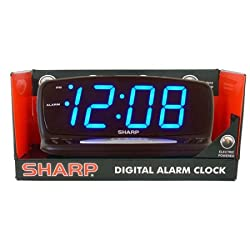 Sharp Blue Jumbo LED Alarm Clock, Black