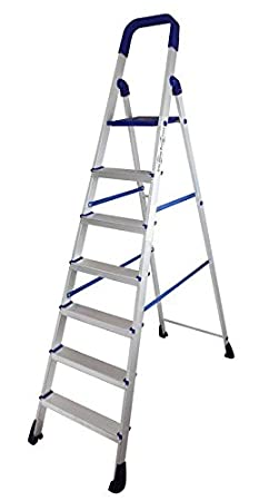 Houzie Folding Aluminium Ladder With Wide Steps - Home Pro 7 Steps