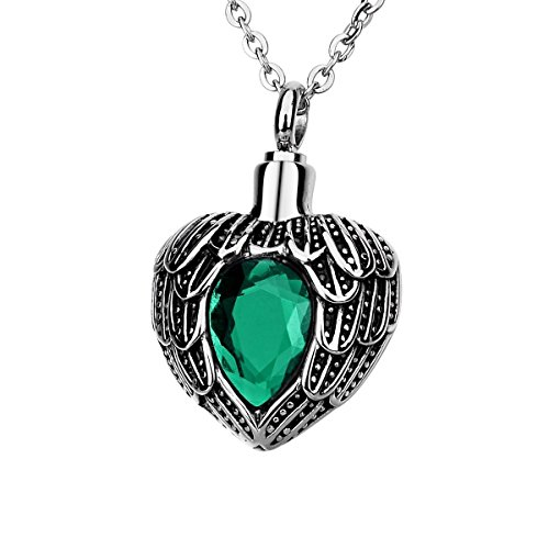 Norya Angel Wing Birthstone Cremation Urn Necklace Heart Memorial Urn Pendant Stainless Steel Cremation Jewelry (May) -