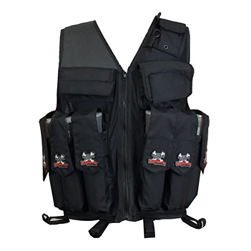 (Maddog Sports Attack Tactical Paintball Vest with Tank and Pod Holder Attachments - Black)