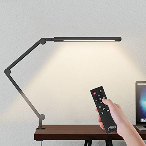Wellwerks Swing Arm Lamp, LED Desk Lamp with Clamp and Remote Control, 9W Eye-Care Dimmable Light, Timer, Memory, 6 Color Modes, Modern Architect Table Lamp for Task Study Reading Working, Home Dorm
