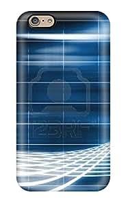 Iphone 6 Hard Back With Bumper Silicone Gel Tpu Case Cover Futuristic Blue Stripe