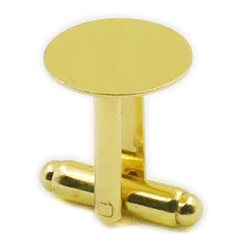 "Fujiyuan 20 Pcs 10 pairs 12mm 1/2"" Cufflinks Copper Pad Round Blank Cuff Links Gold"