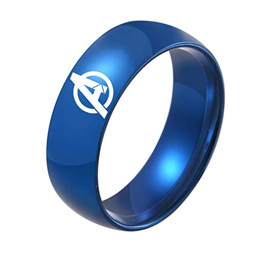 - HPY Avengers Titanium Steel Ring Endgame Accessories Ring Curved Glossy 8mm Unisex, Blue 7