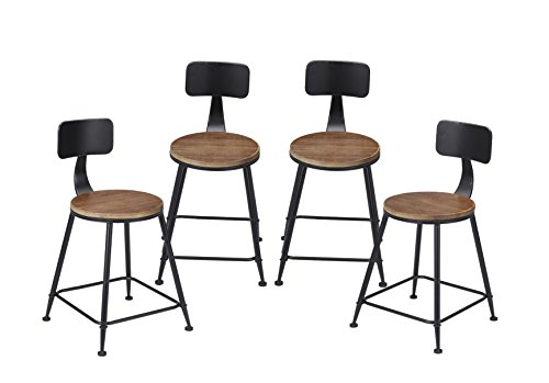 Vilavita 4-set Round Wood Barstools Chairs with Backrest, Side Chair with Pinewood Top and Wrought Iron Frame Bar Stools Dining Chair, Retro Finish