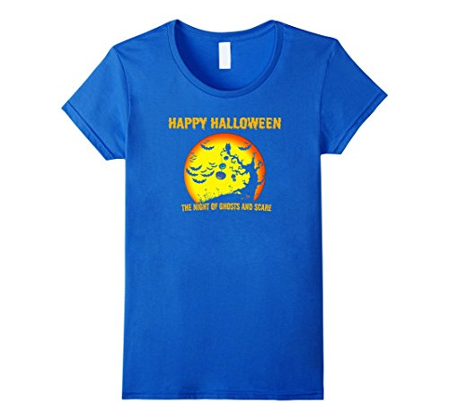 Womens Happy halloween the night of ghost and scary tshirt Medium Royal Blue