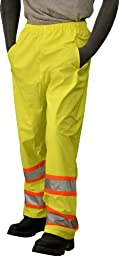 Majestic Glove 75-7351 Polyester High Visibility DOT Waist Pant with Elastic Waist and Snap Ankle Closures, Large, Yellow