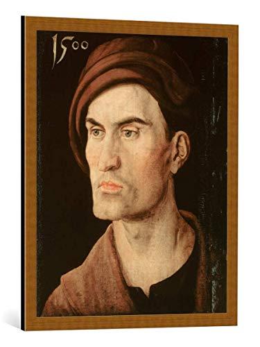 kunst für alle Framed Art Print: Albrecht Dürer Bildnis eines Jungen Mannes - Decorative Fine Art Poster, Picture with Frame, 25.6x31.5 inch / 65x80 cm, Copper Brushed